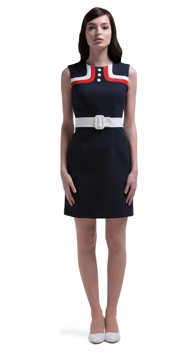 This straight cut mod style sleeveless dress has distinguished tricolour bodice detailing, three neckline buttons and a thick light cream coloured waistline belt. Italian fabric, fully lined. A versatile wardrobe addition for at-work or play. Pairs perfectly with our matching coat to complete a casual but impacting look.  Choose bespoke for short, capped or medium length sleeves.