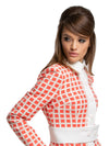 This stunning slightly a-line, muted red/light cream or muted black/light cream geometric pattern light weather coat is made of high quality French weave and creates an immediate sixties look with its light cream collar and contrasting stipe and belt.  Pairs perfectly with the geometric check dresses to complete a high fashion look.