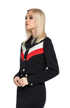 Casual modernist, fully lined Spring jacket. A dark navy body with red and light cream contrast, dramatic white button bodice and cuff detailing for an undeniably cool retro look. Ideal & comfortable work or play wear with a high fashion presence.  Pairs perfectly with our Tri-Colour Dress for a modern fashion set.