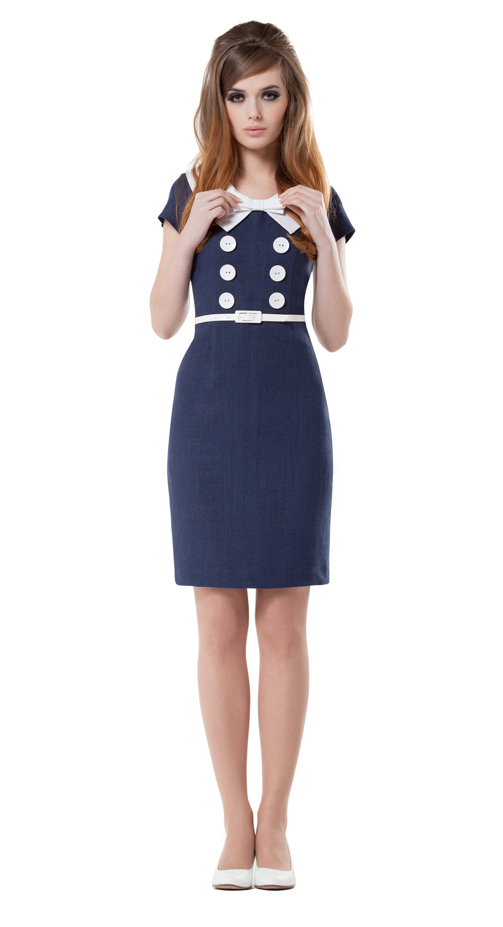 NAVY BLUE LARGE COLLAR DRESS WITH BOW