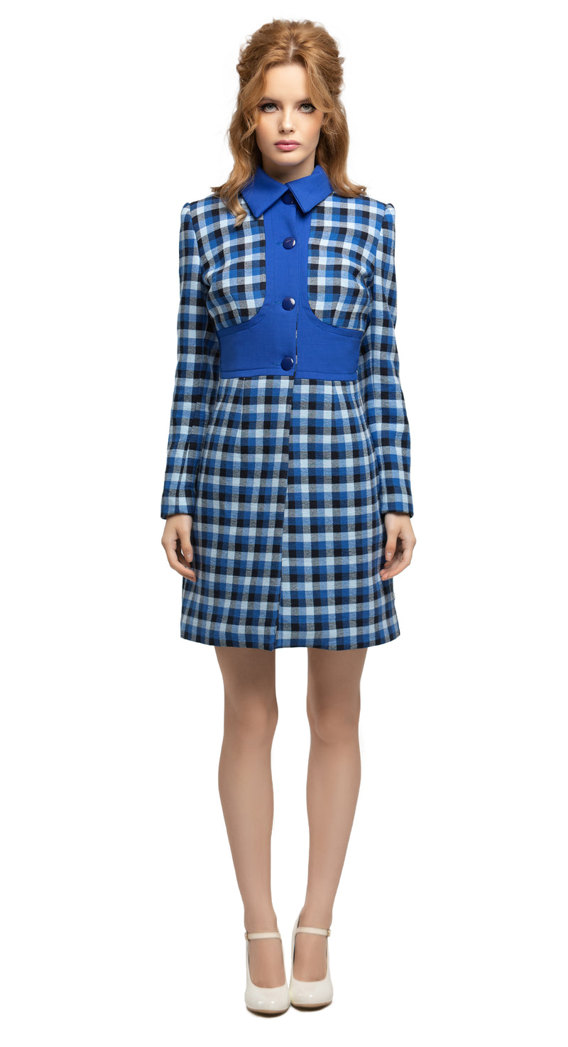 MARMALADE 1960s Style Blue Plaid Coat RECYCLED Fabric