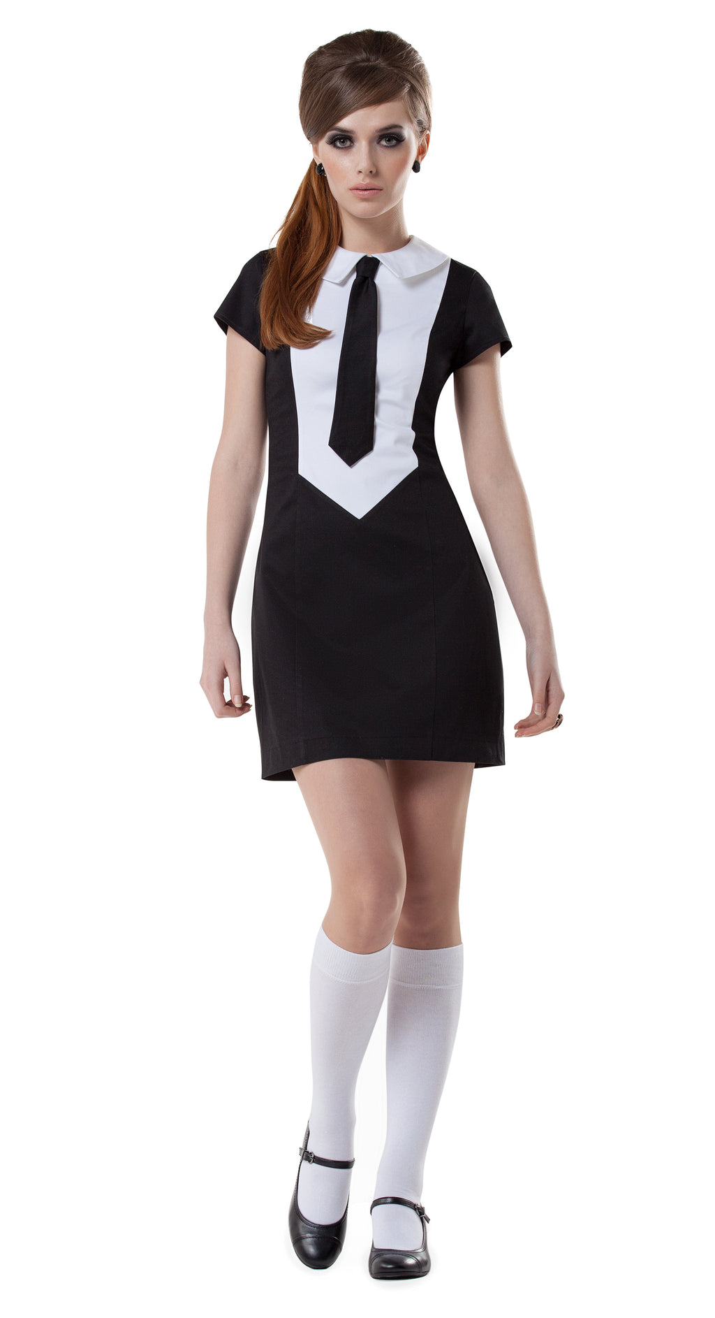 BLACK/WHITE TIE DRESS