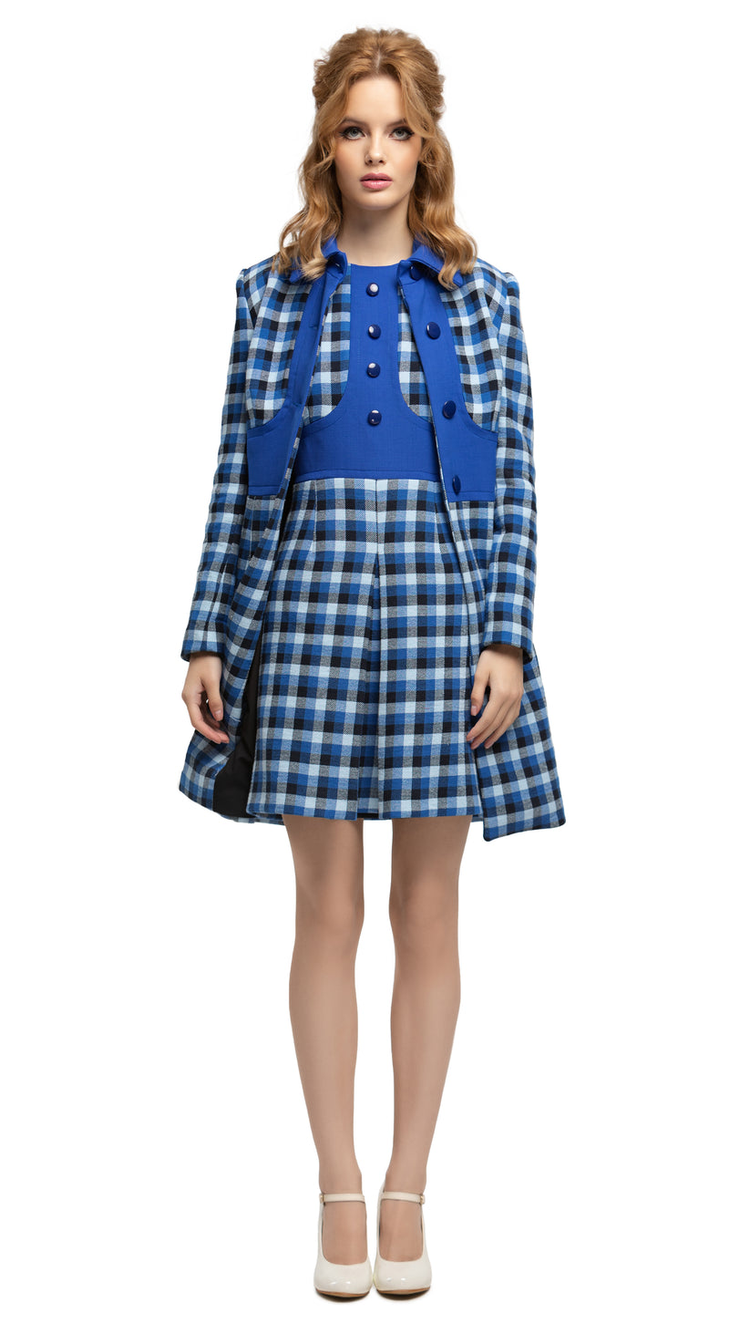 MARMALADE 1960s Style Blue Plaid Dress RECYCLED Fabric