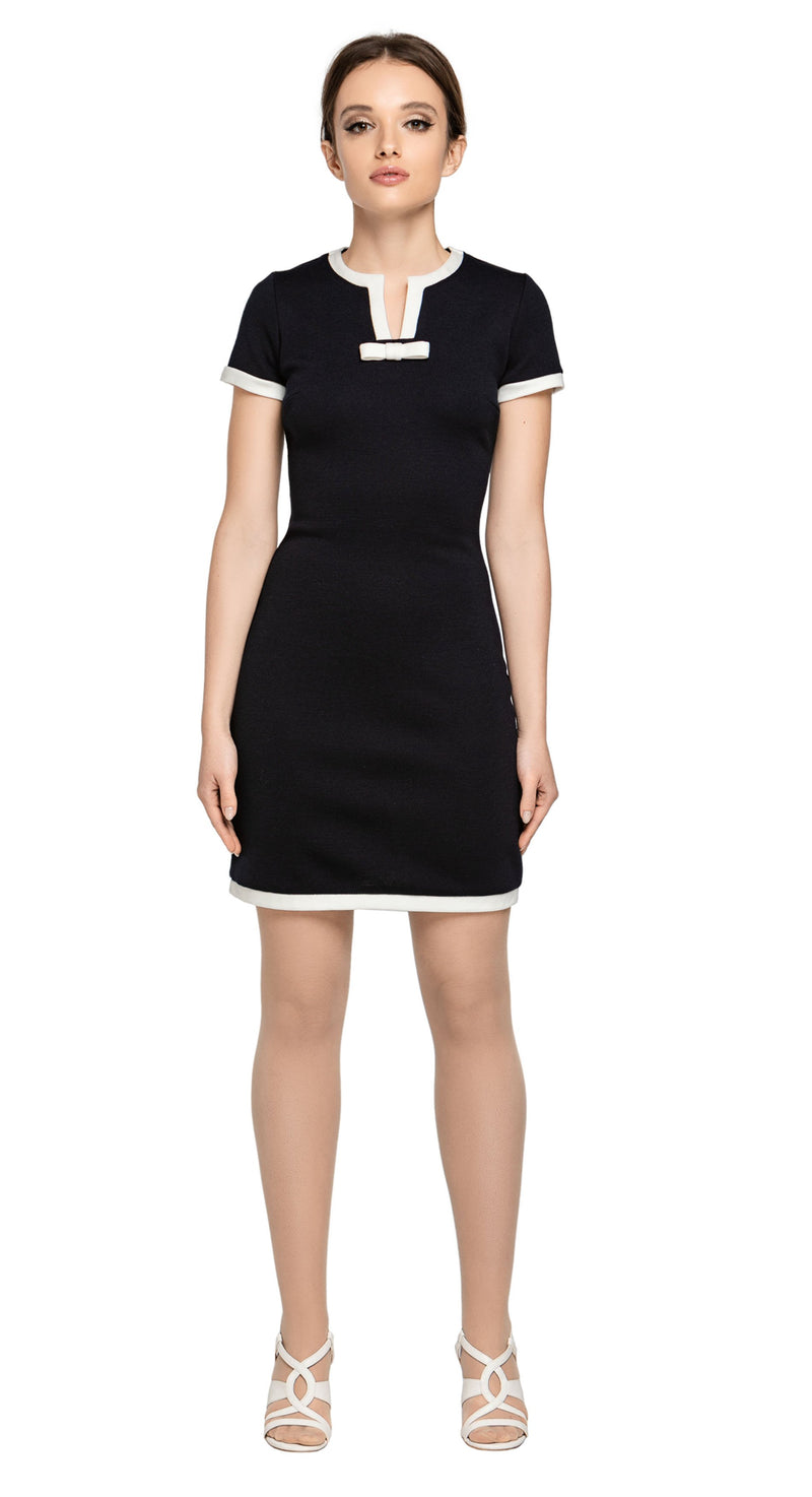 Sixties staple; fitted black/light cream Italian jersey dress with contrasting light cream trim and small neckline bow. Jersey provides stretch. Elegant with casual comfort.  An work or play wardrobe go-to. Choose bespoke to alternate sleeve length or to choose alternative colour jersey.