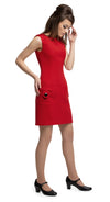 mmediately sixties, immediately striking red Italian mill, all occasion dress with dramatic, functioning, mod circle pockets and black closure detailing. A sleeveless cut with circular neckline and buttoned shoulder tabs.  Pairs perfectly with the red circle pocket coat.  Choose bespoke to alternate colour or to add desired length sleeves.