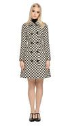Retro style, fitted French weave polka dot fair weather coat with detachable bow. A striking fabric in both quality and appearance compliment the timeless fit.  This coat is fully lined with eight button front panel closure.  Pairs perfectly with our Polka Dot Skirt or our Circle Cutout Dress to create an impacting fun and stylish high fashion skirt/dress and coat set.