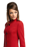 mmediately sixties, immediately striking red Italian mill fair weather coat. With a mandarin collar, shoulder tab detailing, dramatic large black button front closure and functioning mod side circle pockets.  Pairs perfectly with the red circle pocket dress or skirt to complete an entrance-making high fashion look.  Choose bespoke for alternate colours.