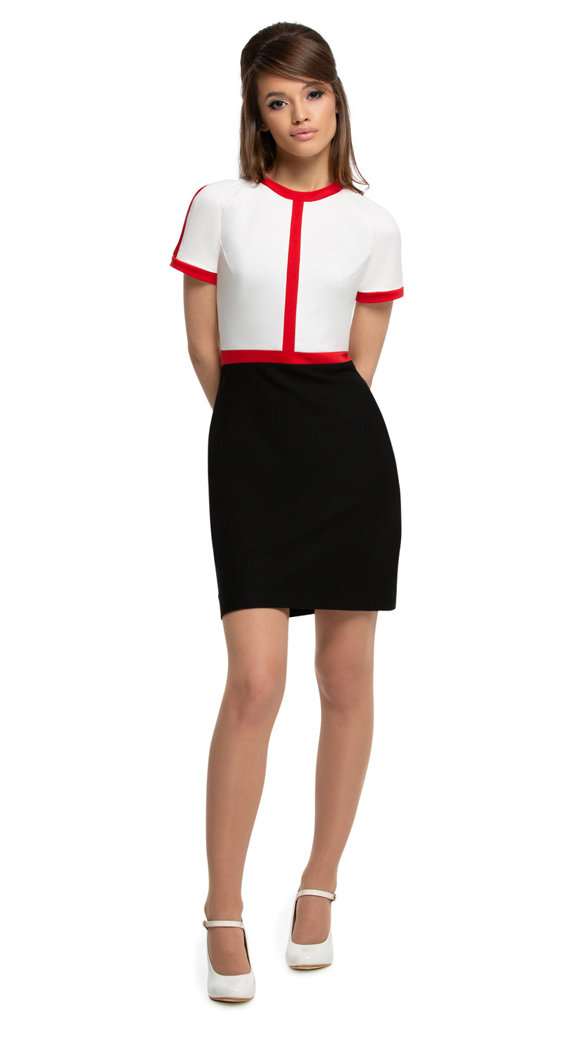 Any occasion, work or play, casual, fitted, vintage inspired medium-weight Italian jersey dress in the timeless tri-colours; black/red/light cream or navy blue/red/light cream. Dressed up by way of heels, or casually down by way of flats or kicks. Generous stretch, high quality Italian mill jersey. A comfortably cool spring look.   Choose bespoke for alternative colours or to increase sleeve length.