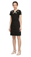A re-imagined little black dress wardrobe staple and default go-to for many an occasion.  A beautifully fitted silhouette with four unique circle cut-outs around the neck line with a small bow for additional feminine detail.  A work or play, dress up or down fully lined dress.   Alternate to matching little black bow or choose bespoke for mid, three quarter length or full sleeve.