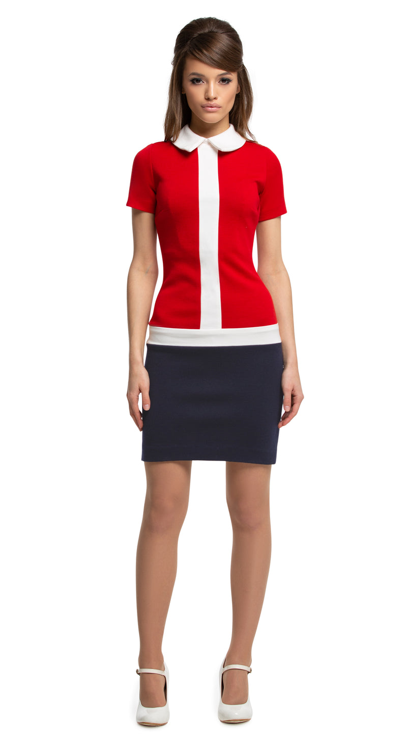 Any occasion, work or play, casual, fitted 1960s style jersey dress in the timeless tri-colour of red/light cream/navy blue. Dressed up by way of heels, or casually down by way of flats or kicks. Generous stretch, high quality Italian mill jersey. Another comfortably cool Spring look.  Choose bespoke to alternate the colours on the bodice and the skirt or increase sleeve length.