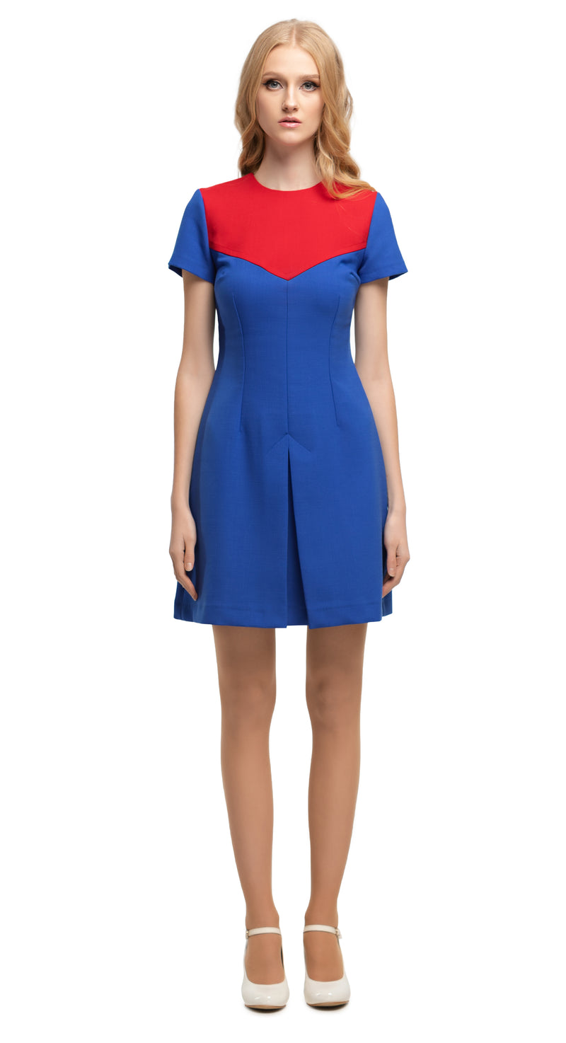 MARMALADE 60s Style Navy Blue/Red Dress