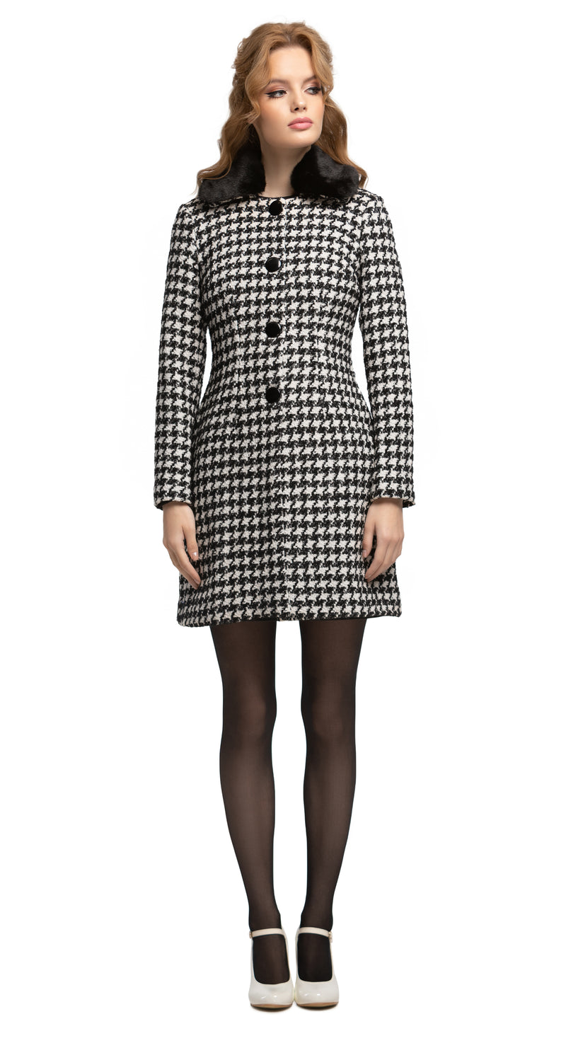 MARMALADE Sixties Style Houndstooth Wool Coat