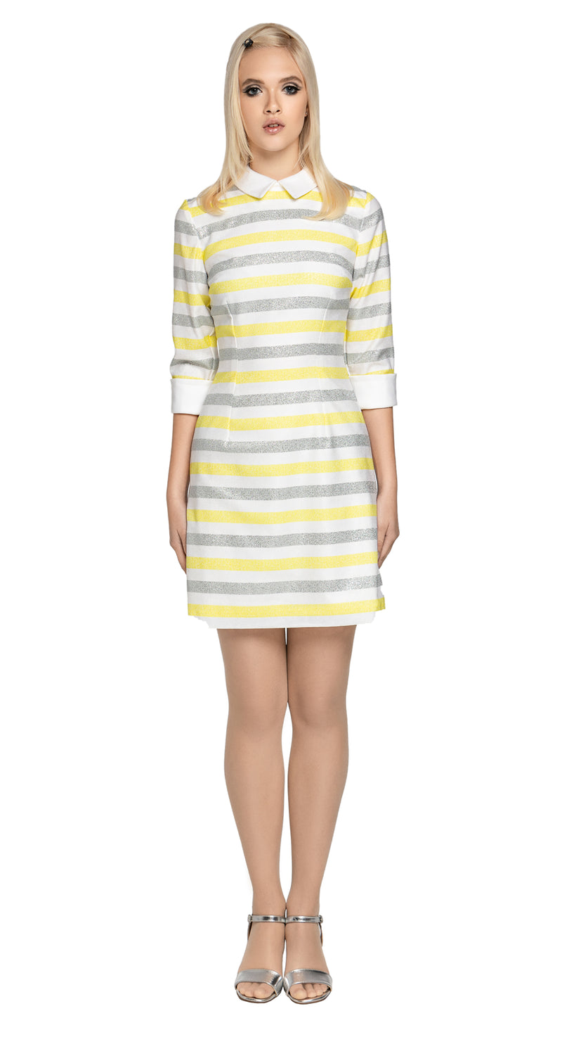 A Spring, big night out dress which provides just enough dazzle to create an entrance without infringing on comfort.  A fitted dress with three quarter length cuffed sleeves and a traditional stand up collar.  A fully lined piece, with back zipper, produced from luxurious French mill fabric with some stretch.  Choose bespoke to alternate sleeve length as desired.