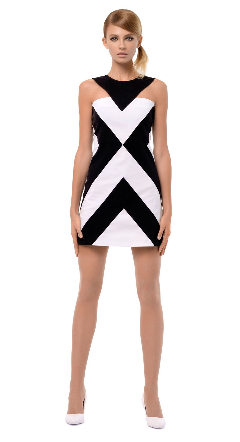 CHEVRON BLACK/WHITE DRESS