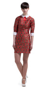 This straight cut sixties style dress is made from a medium weight French mill weave. The red embossed floral pattern over light copper is highlighted by a small white collar, red ribbon detailing and white cuff detailing on three quarter length sleeves.   Choose bespoke for alternative sleeve or skirt lengths.
