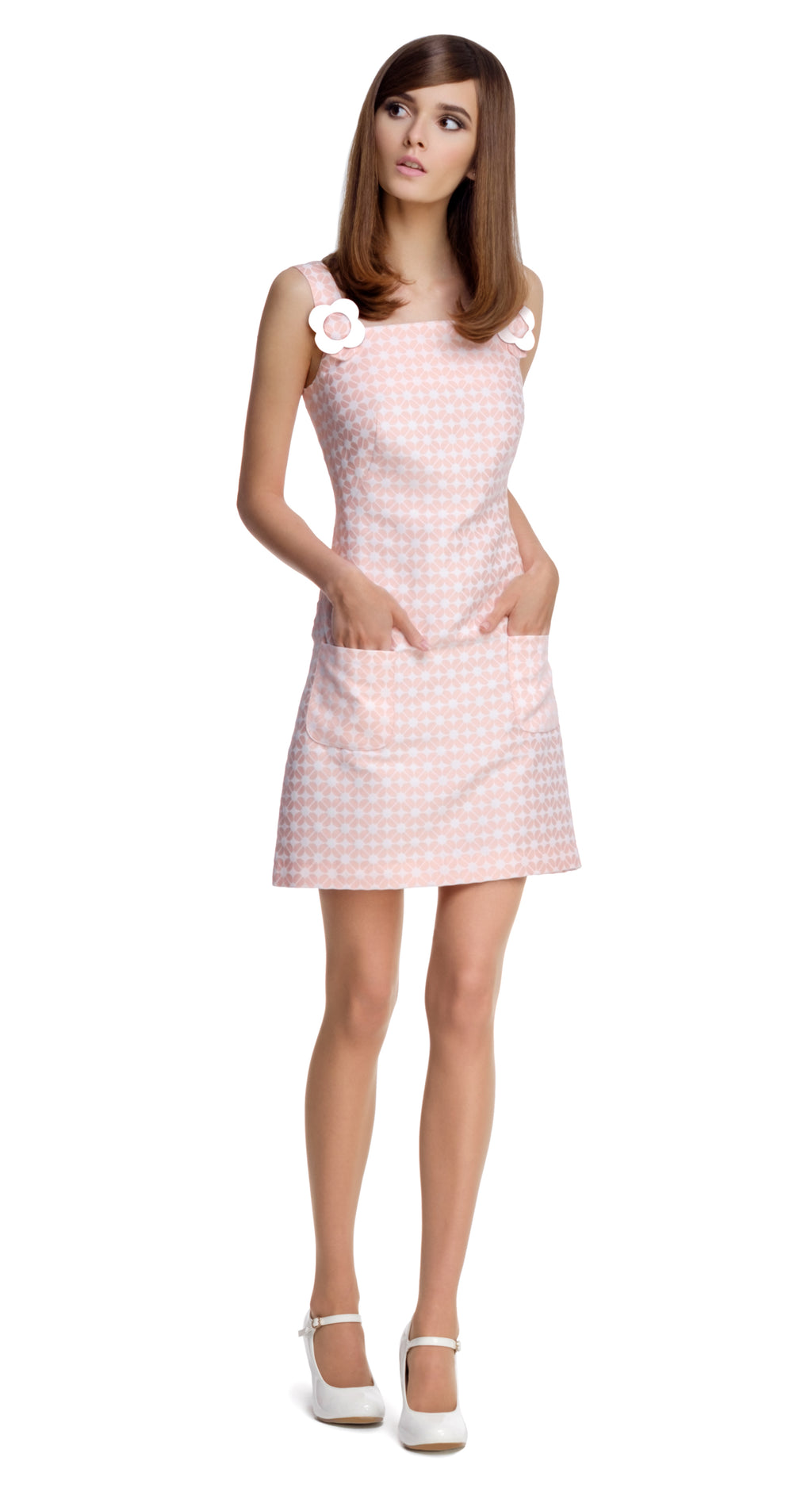 PINK GEOMETRIC PATTERN DRESS WITH FLOWER BUCKLES