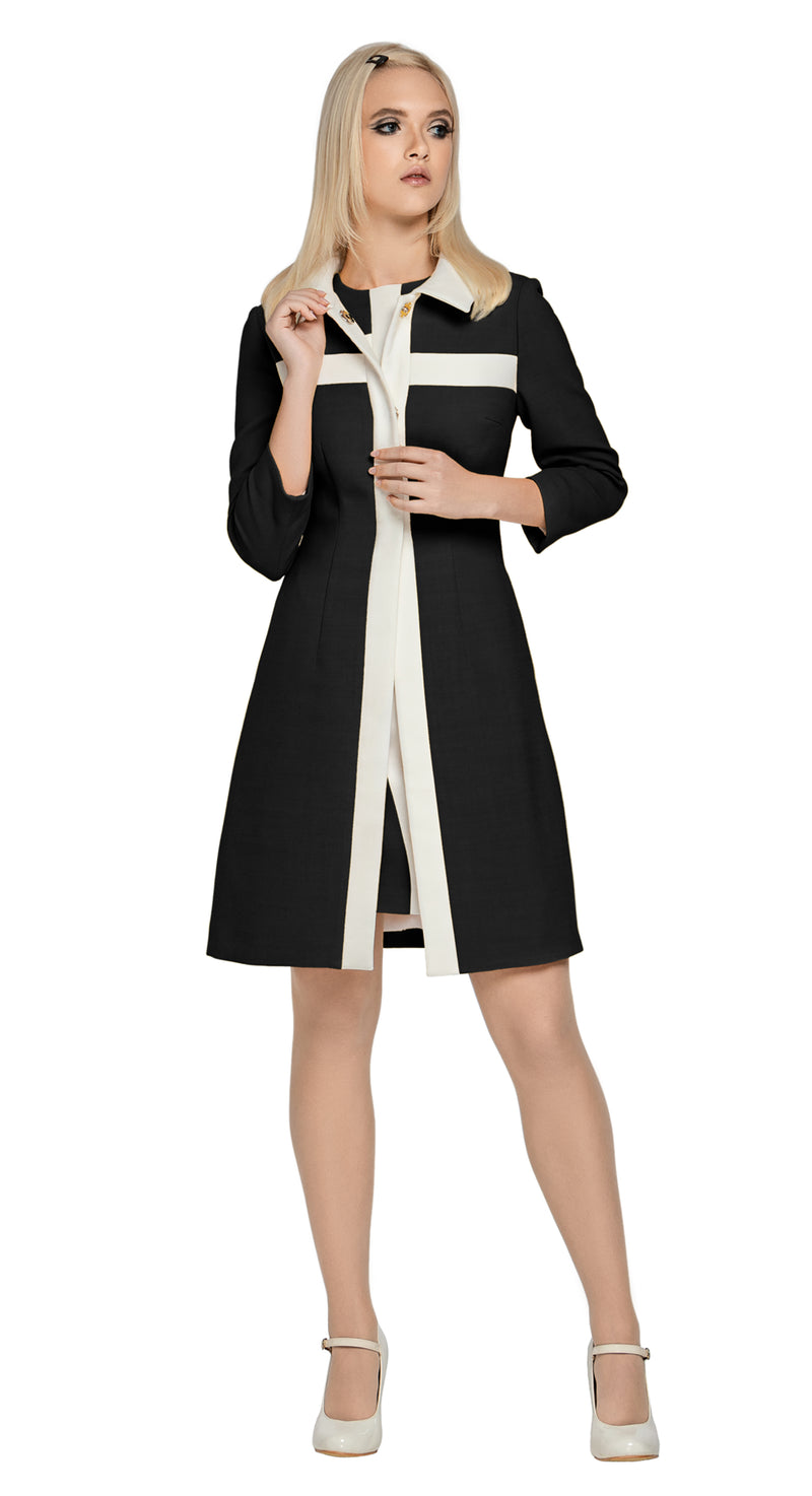 A classic Spring coat in black Italian fabric with complimenting cream detail. A light cream detachable bow assists in dressing this piece up or down.  This fully lined coat pairs perfectly with our 60s Style Light Black/Light Cream Dress.  Choose bespoke to for different colour combinations (please inquire).