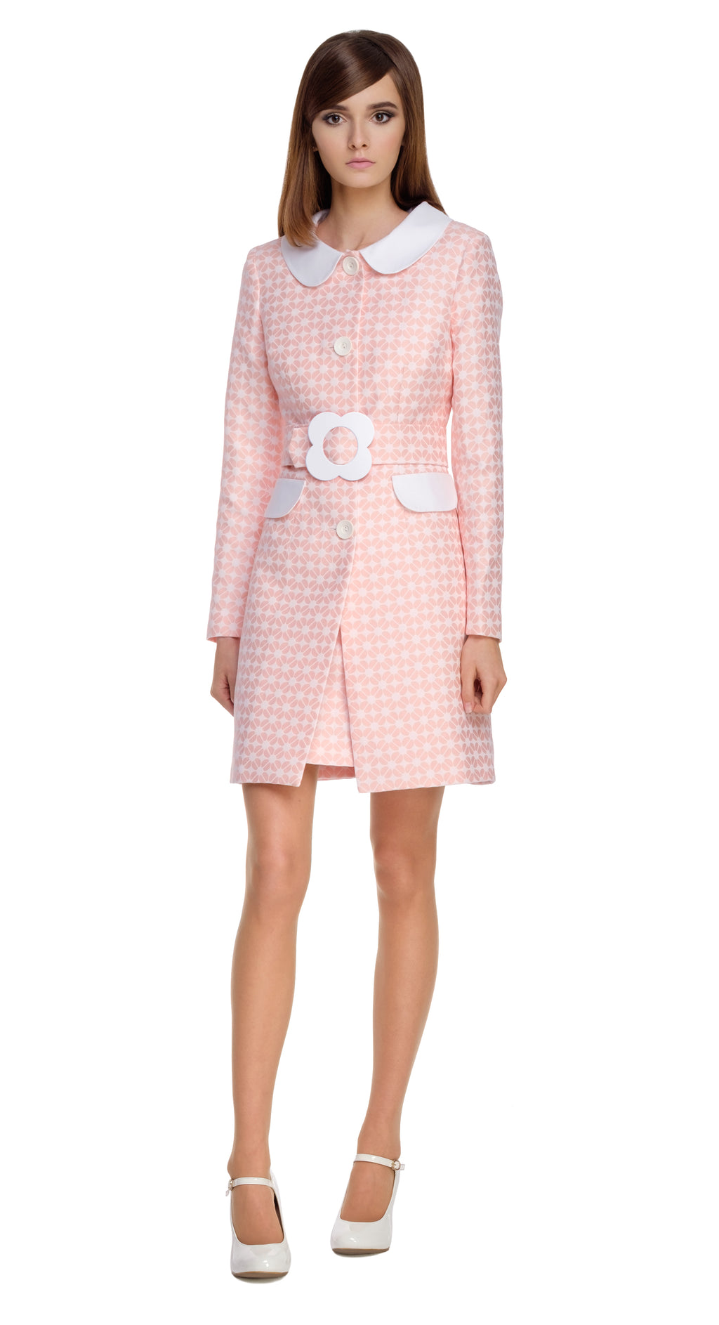 PINK GEOMETRIC PATTERN COAT WITH FLOWER BUCKLE