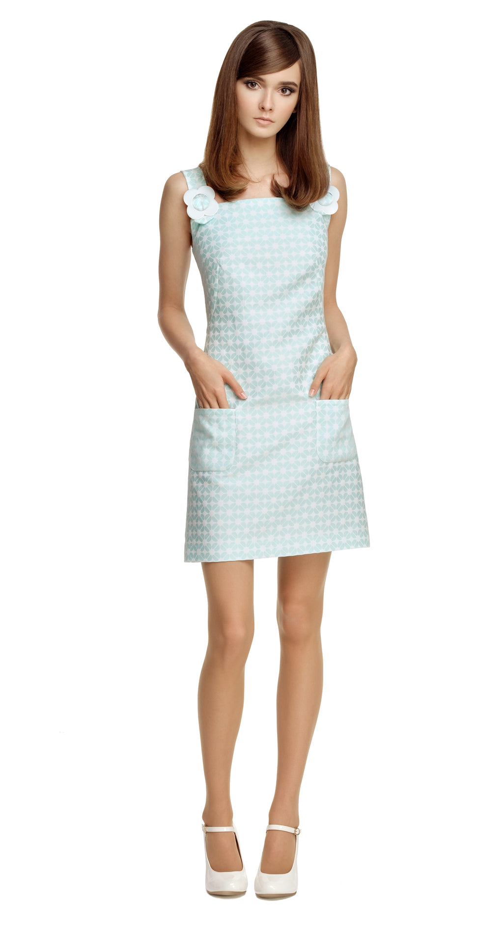 GREEN GEOMETRIC PATTERN DRESS WITH FLOWER BUCKLES