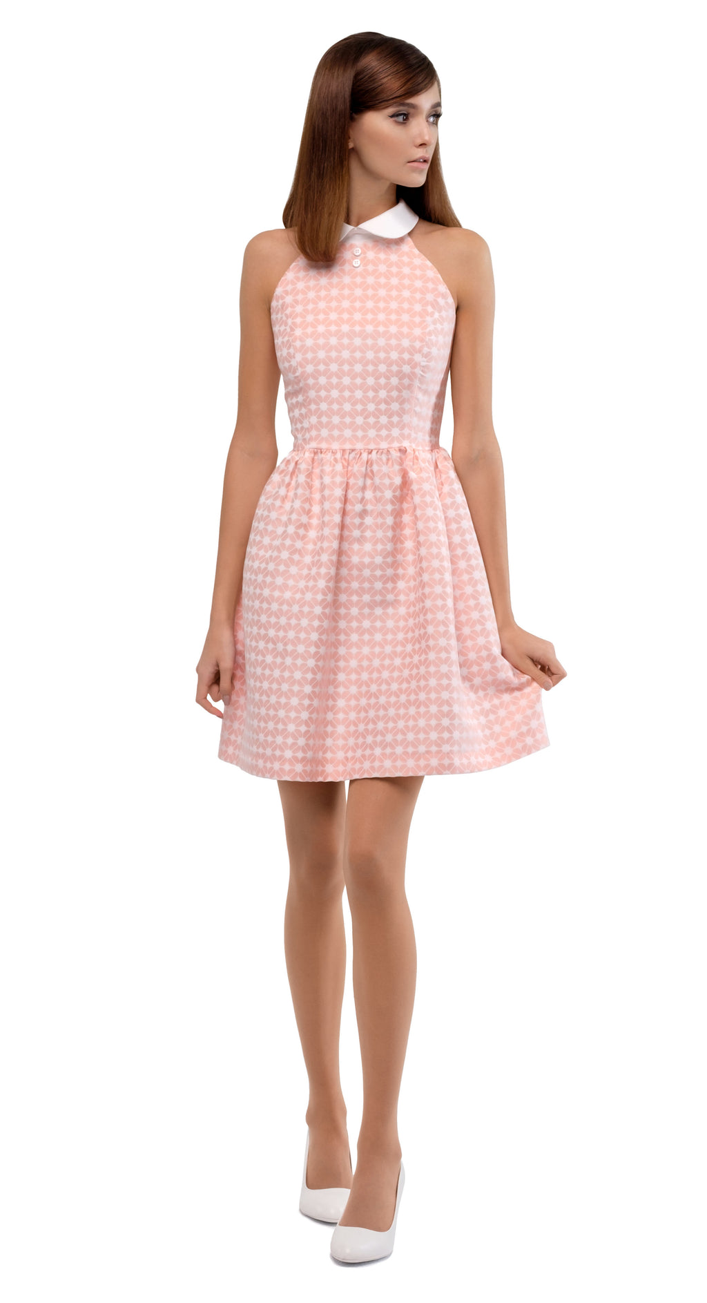 PINK GEOMETRIC PATTERN DRESS WITH WHITE COLLAR