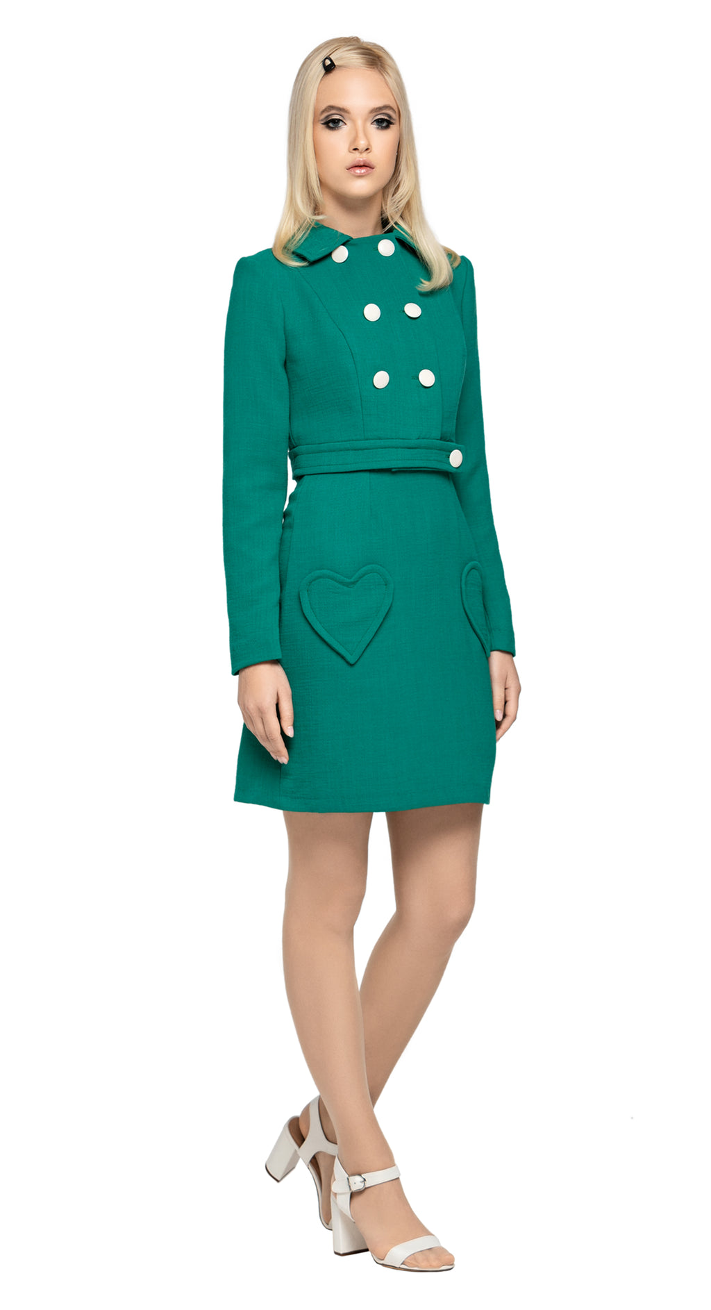 To accompany our Vintage Green Dress and Vintage Green Skirt, our fully lined fair-weather collared, cropped jacket can be worn to suit a work or play environment. Sophisticated and impacting when worn as a set, or casually over existing wardrobe.  Made of beautiful Spanish mill fabric, with a seven white button front closure.  Alternate colours available (please inquire).