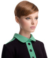 BLACK/GREEN JERSEY DRESS WITH COLLAR