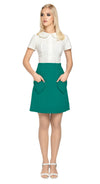At work or play fully lined Spanish wool blend skirt with unique heart shape functional pockets. A very wearable and flattering style statement in a classical vintage green. Back zipper closure.   Pairs perfectly with our Vintage Green Jacket to create a set for a high fashion functional statement.  Alternate colours available (please inquire).
