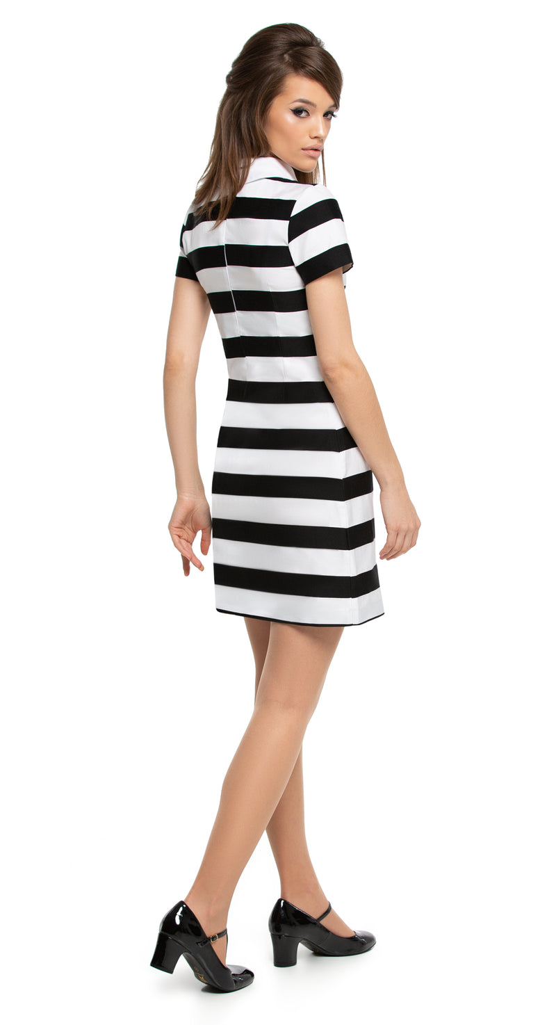This black and white striped Spring to Summer, day or night dress is made of a beautiful medium-weight French fabric. A small white collar and short sleeves compliment the striking lines of this contrasting design, allowing for easy accessorizing to personalise its striking first impression.  Choose bespoke if preferring mid length sleeves or sleeveless.