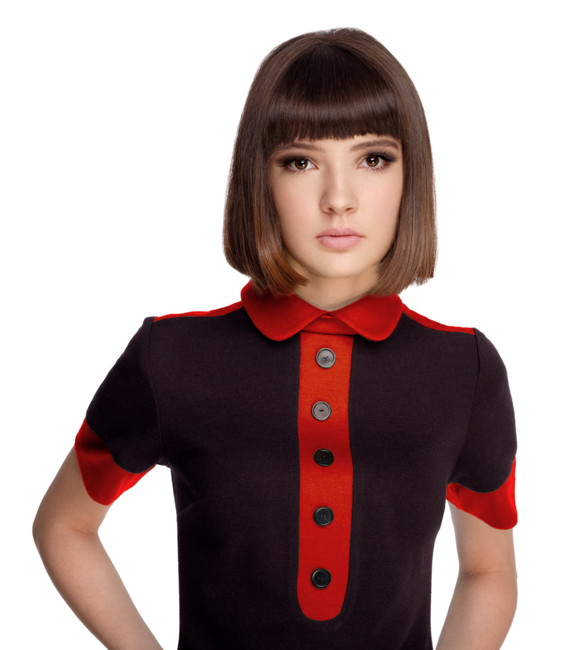 BLACK/RED JERSEY DRESS WITH COLLAR