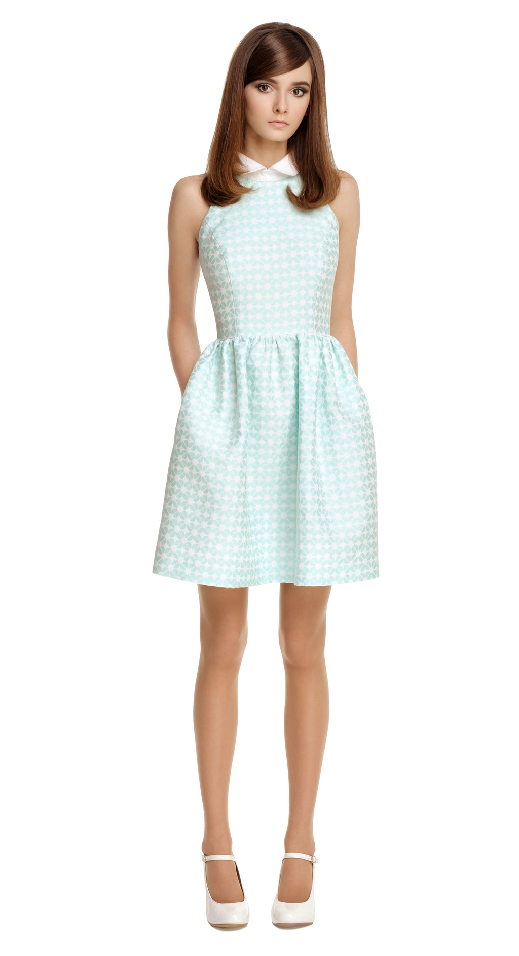 GREEN GEOMETRIC PATTERN DRESS WITH WHITE COLLAR