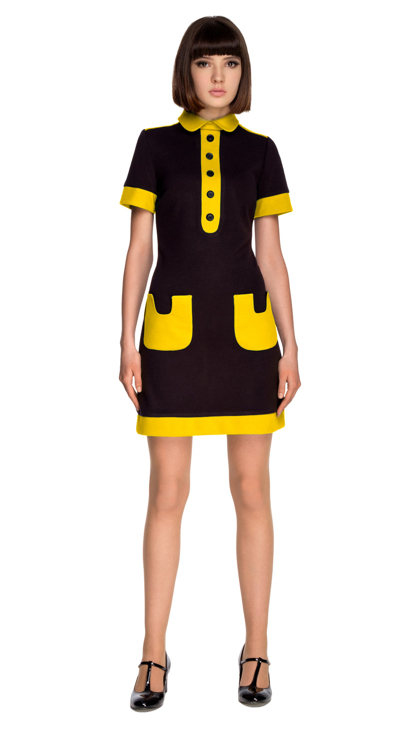 BLACK/YELLOW JERSEY DRESS WITH COLLAR