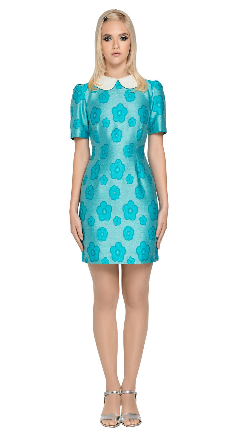 MARMALADE 60s Style Flower Pattern Dress with Peter Pan Collar