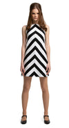 MARMALADE Black/White Striped Mod Shift Dress