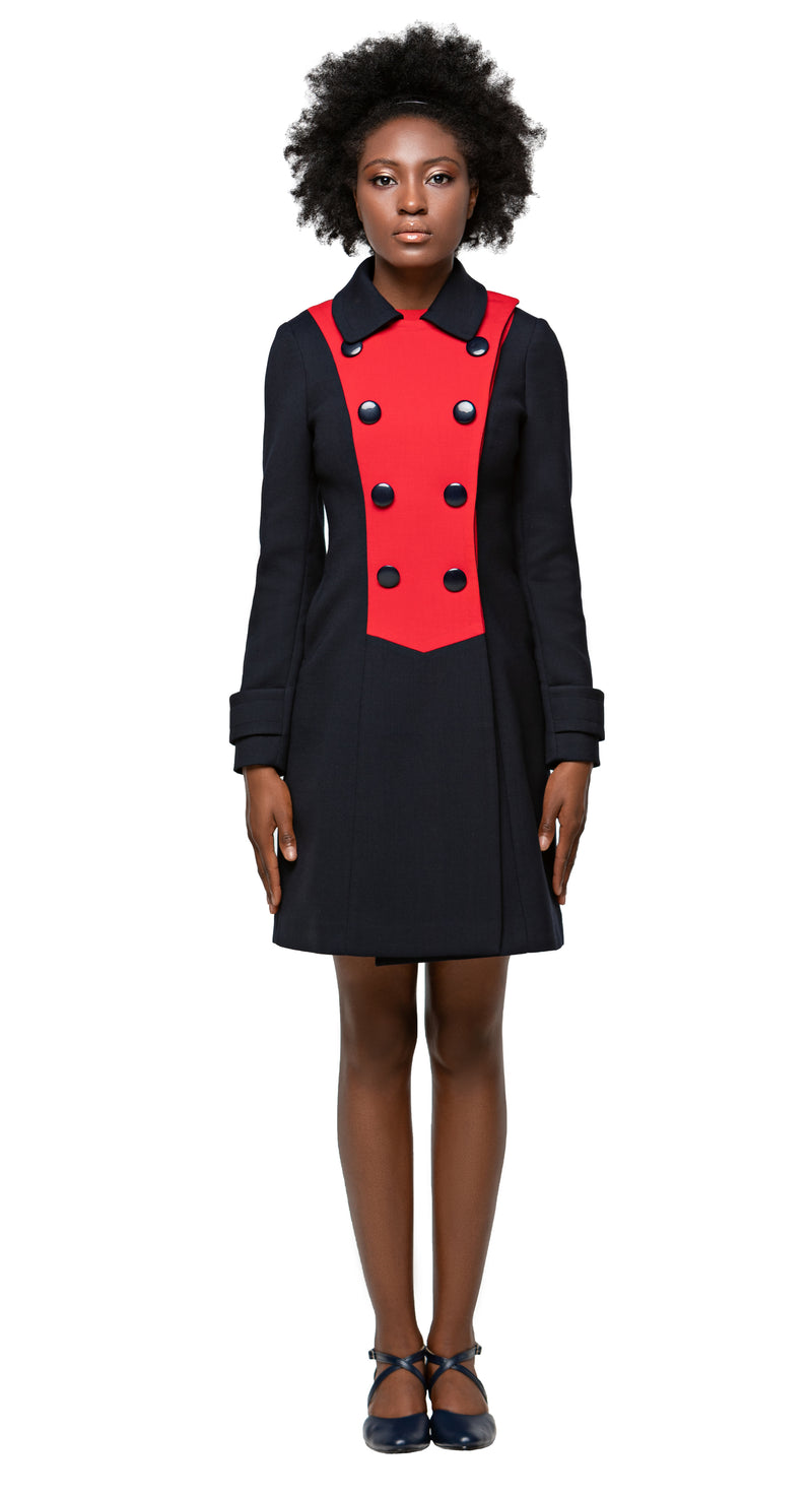 MARMALADE Mod 1960s Style 2 Tone Coat in Navy Blue/Red