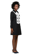 MARMALADE Mod 1960s Style 2 Tone Coat in Black/Light Cream