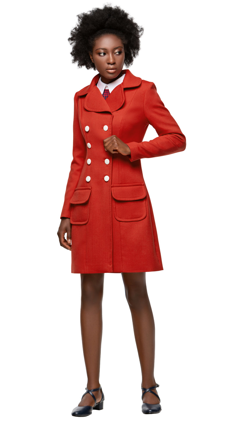 MARMALADE 1960s Mod Style A-Line Coat with Rounded Collar