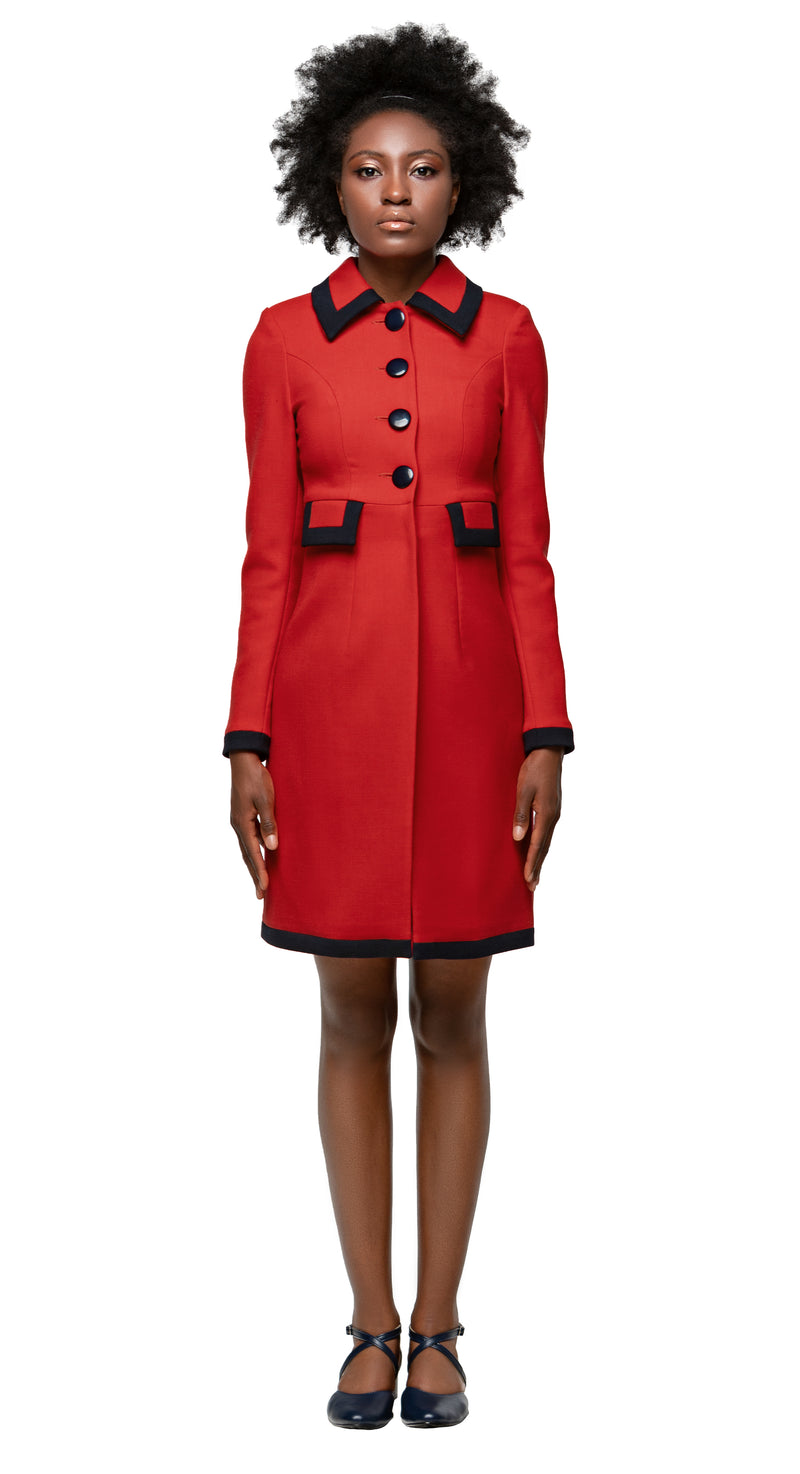 MARMALADE Classic 1960s Style Coat with Black Trim