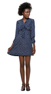 This Autumn, retro style, polka dot shift dress has a decorative bow and slightly puffed long sleeves. A light, easy to wear and flattering cut is adaptable to any occasion through accessories.  Material provides no stretch.  The model pictured is 176 cm tall and wears a size XS. Fabric Content: 95% Polyester / 5% Elastane. Lining: 95% Polyester / 5% Elastane. Fabric provides no stretch. Back zipper. Fully lined. Hand wash, hang to dry. Produced in the EU from fabric made in Spain.