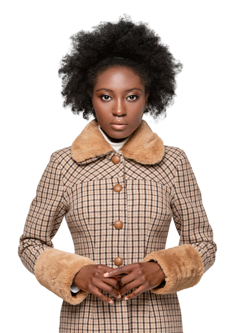 MARMALADE Retro Style Plaid Winter Coat with Faux Fur Collar and Cuffs