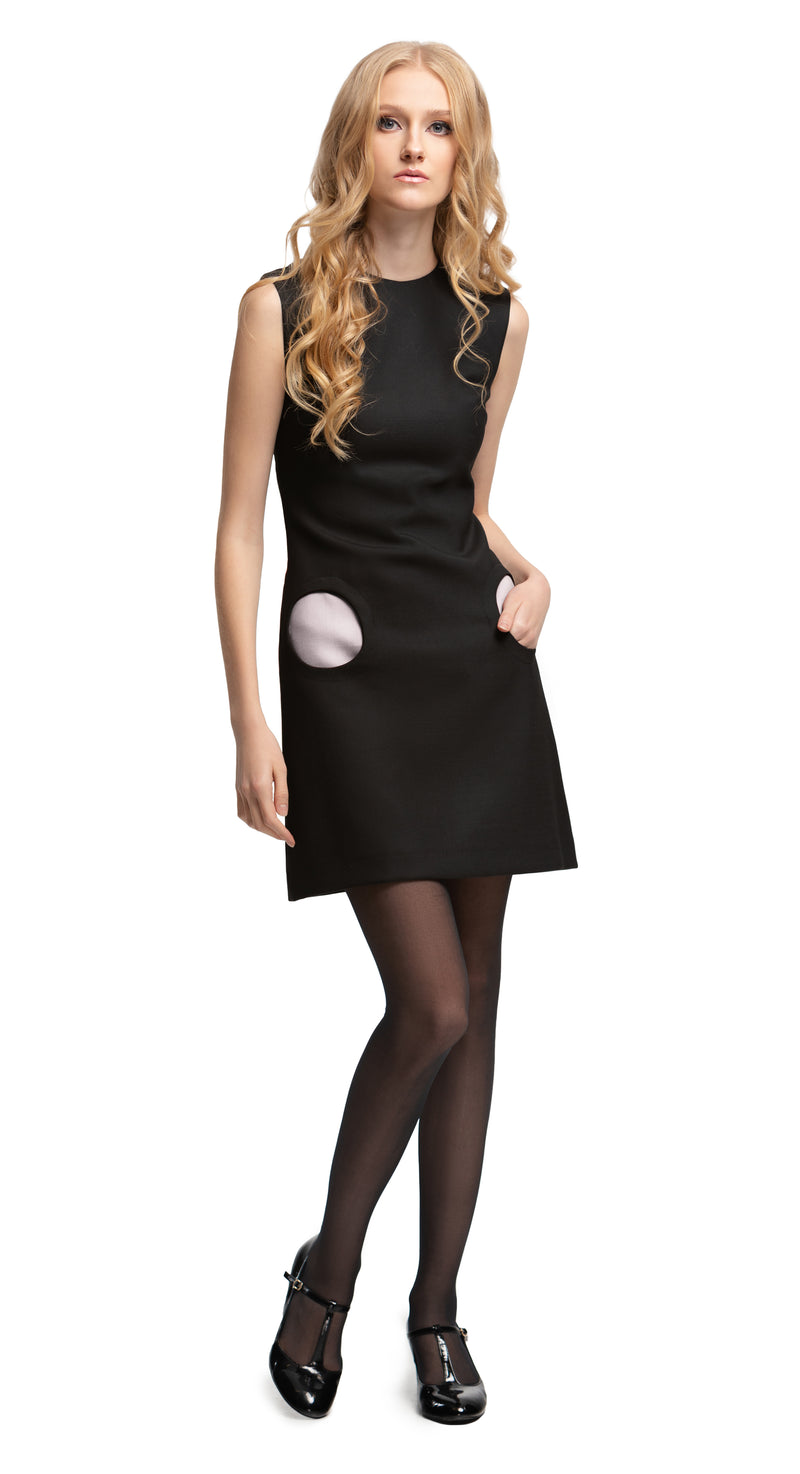 MARMALADE Mod Style Black Dress with Cream Circle Pockets