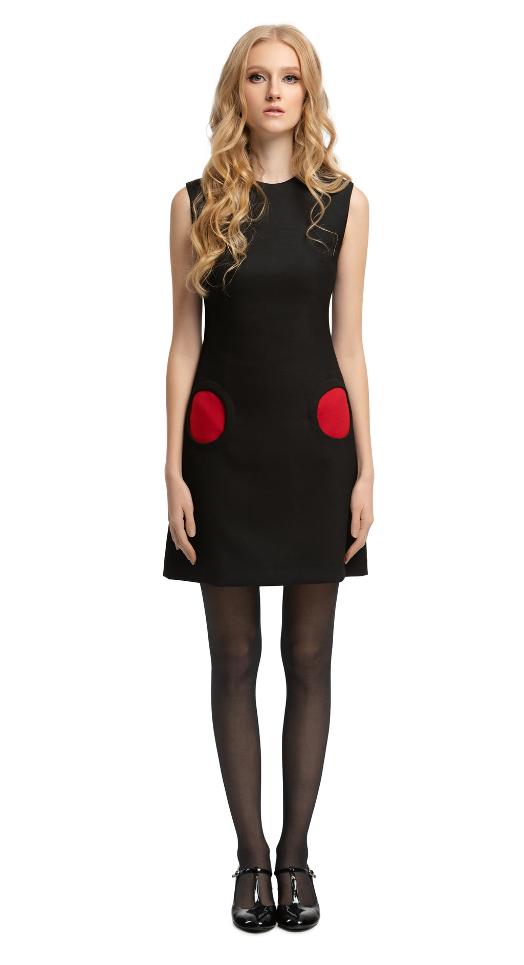 MARMALADE Mod Style Black Dress with Red Circle Pockets