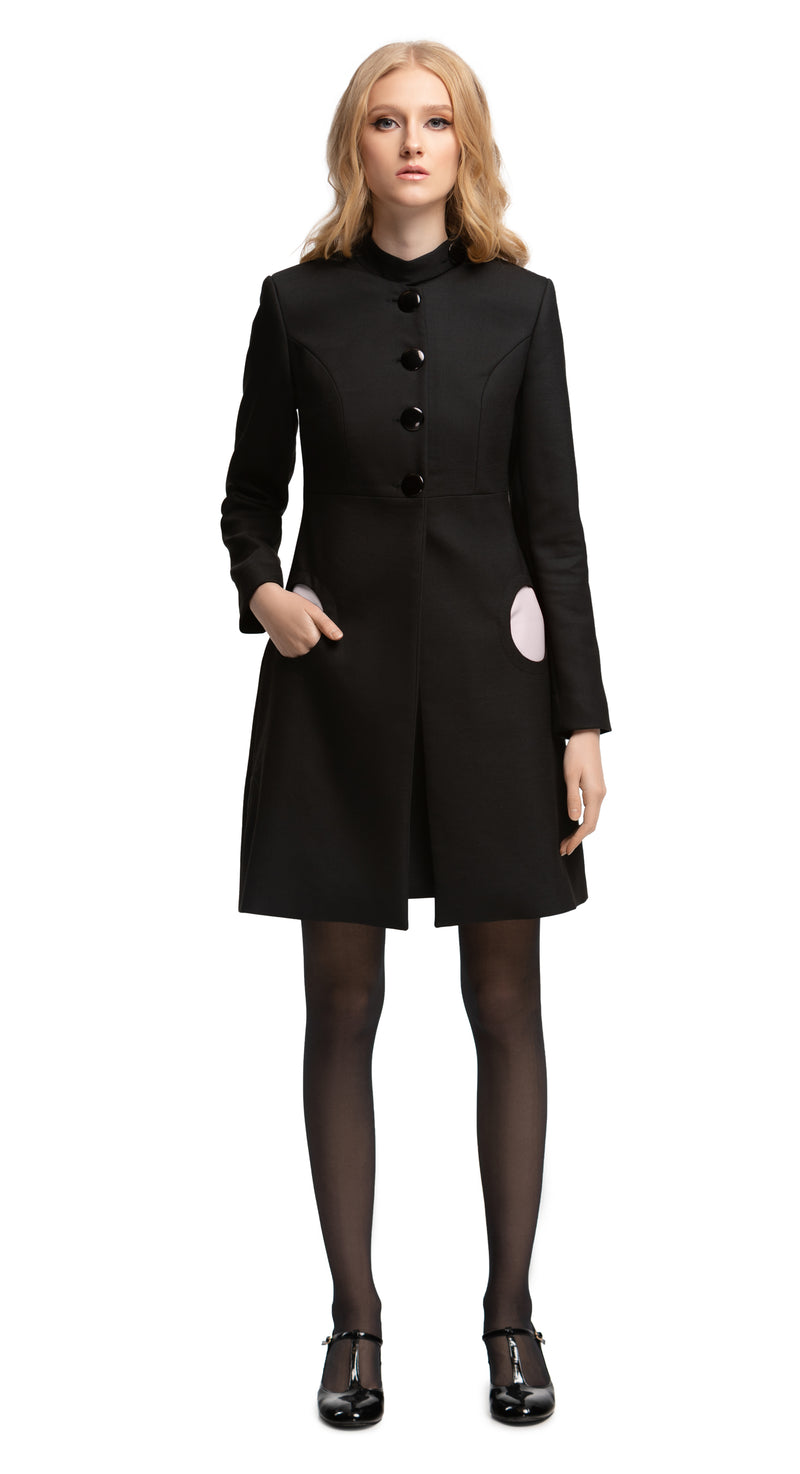 MARMALADE Black Classic Style Coat with Red Circle Pockets