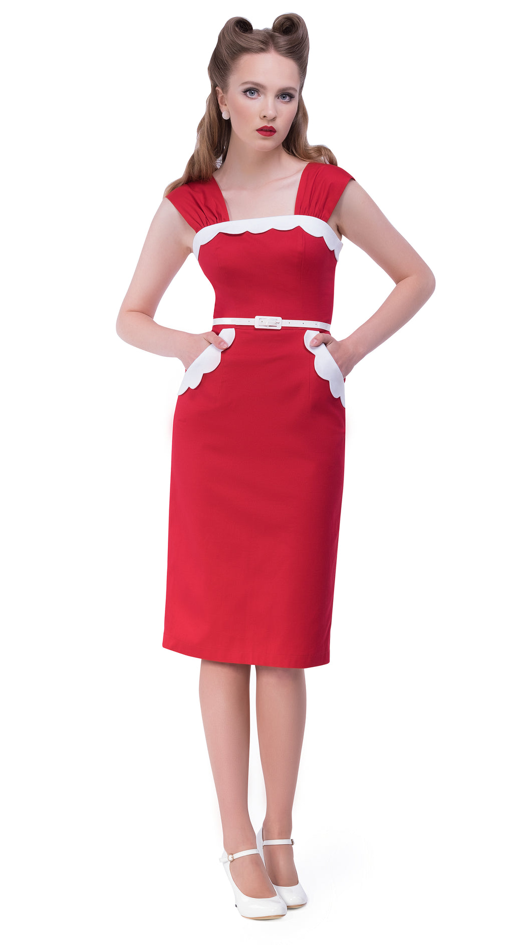 This red rockabilly fifties style Italian cotton full length dress from the first season of Magdalena's Main Squeeze label provides a fitted bodice with a full length pencil skirt incorporating impacting detail by way of a darling white scallop top and pockets. Thick bunched shoulder straps and white faux leather belt finish the look.