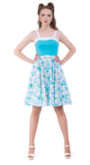 This turquoise hula 50s style Spanish cotton blend dress from the first season of Magdalena's Main Squeeze label has a fitted bodice with full circle skirt, white detail and shoulder straps. A beautiful floral tiki print skirt finished with the faux white leather belt allows for a kick off your shoes, fun and timeless stylish, addition to summer wardrobes.