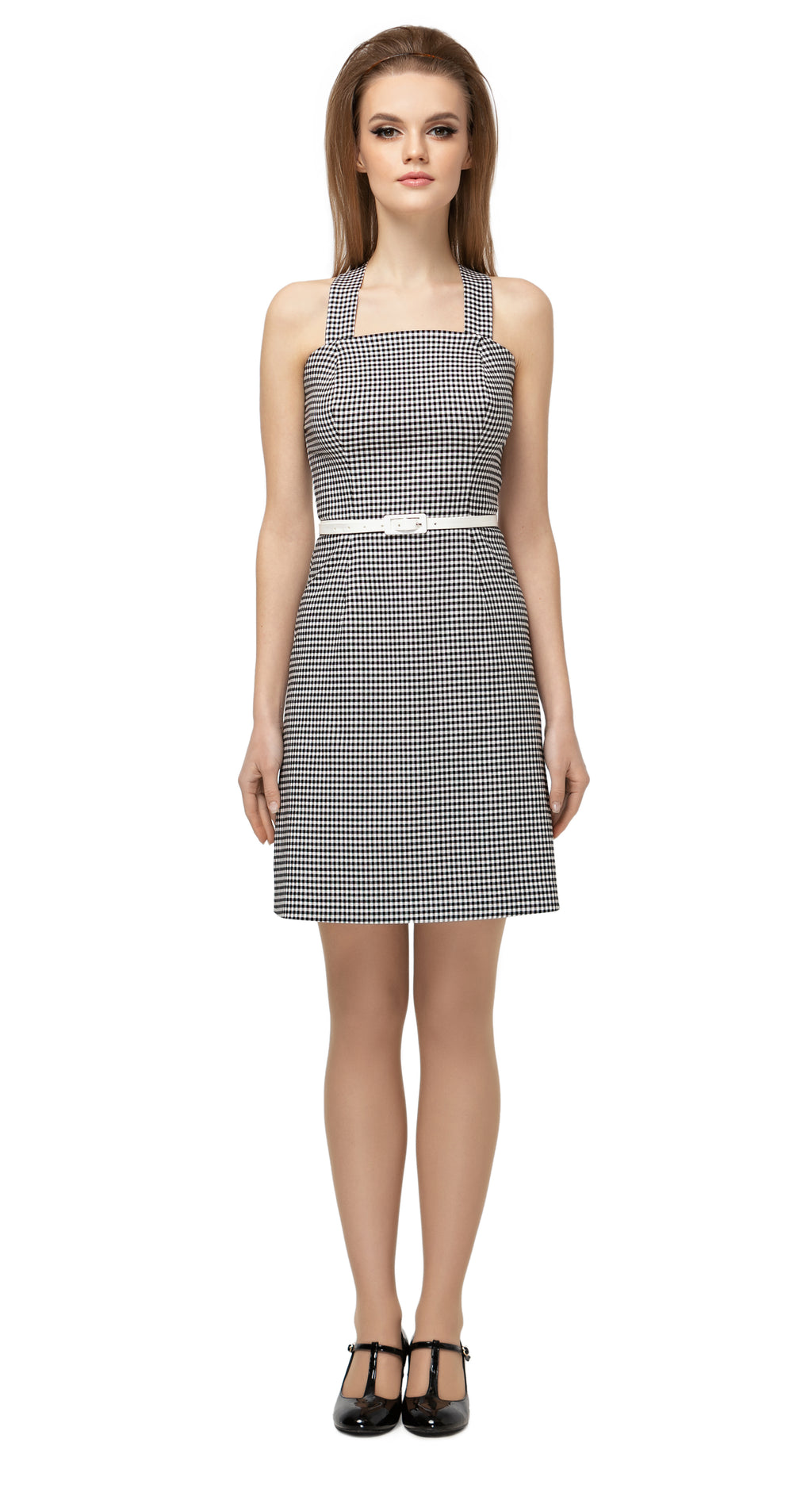 Fitted, classic gingham, Italian cotton dress. Detachable white vinyl belt and criss-cross shoulder strap back. Elegantly casual and comfortable for day or night.