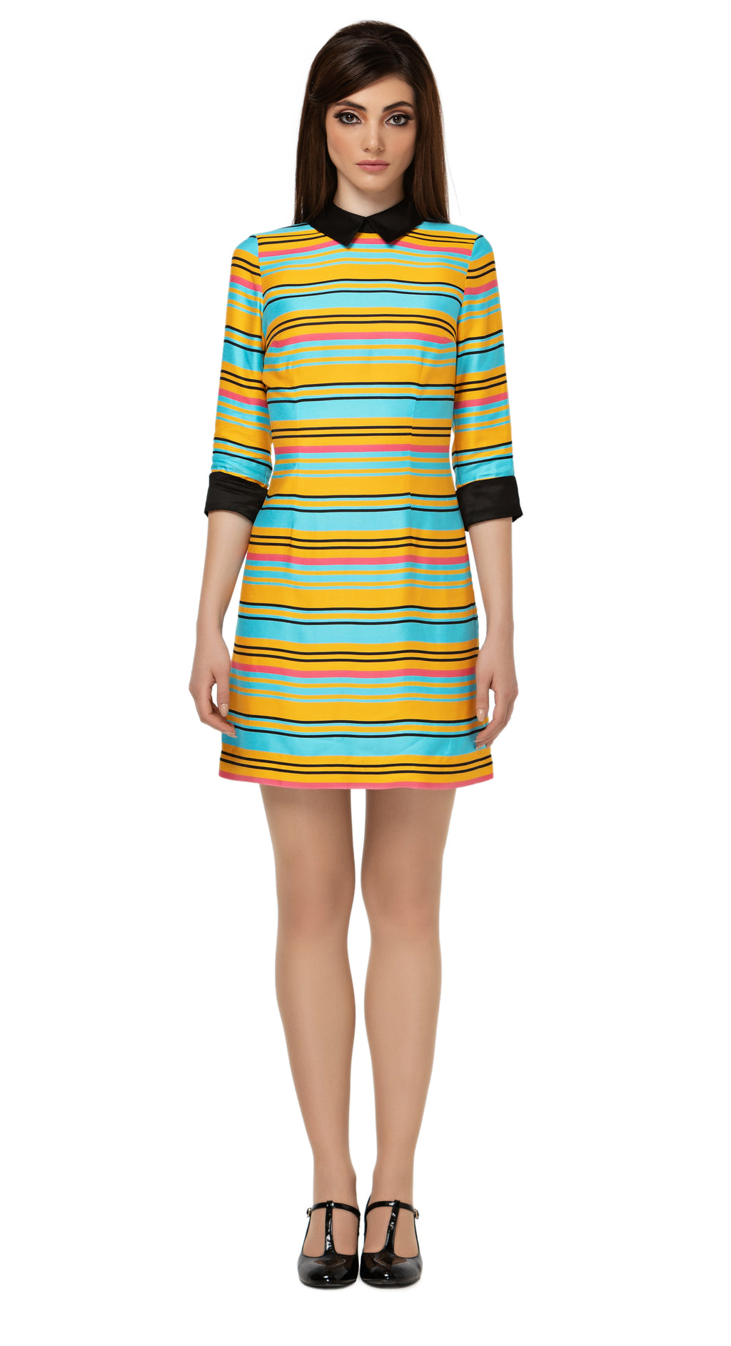Colourful striped Spring three quarter length sleeved dress. Premium quality Italian breathable viscose-blend. Classic shirt collar with black trim cuffs.  Choose bespoke to change sleeve lengths from short to full and/or to alter hem length.  Pairs well with our jacket MSMSSP2021-20.