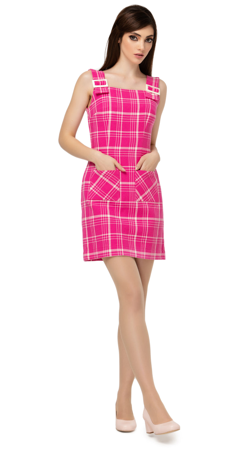 Fairweather fuchsia and light cream plaid  heavy-weight Spring dress with buckle down shoulder straps and functional front pockets. Made of a premium RECYCLED Italian weave.  Pairs perfectly with both MSMSSP2021-25 and MSMSSP2021-26 to create a dress/jacket or dress/coat high fashion set.