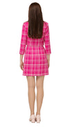 Fairweather fuchsia and light cream plaid  heavy-weight Spring jacket with double breasted light cream button detailing closure, square neck line and collar. Made of premium RECYCLED Italian fabric.  Pairs perfectly with both MSMSSP2021-24 to create a dress/jacket high fashion set.