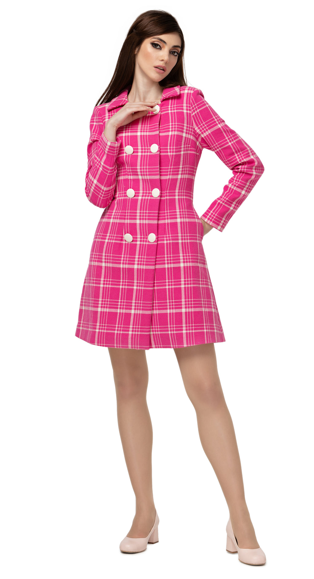 Fairweather fuchsia and light cream plaid  heavy-weight spring double breasted coat. A strikingly beautiful sixties cut with a meticulous structure. Eight light cream double breasted closure, collar and square neck line.   Pairs perfectly with MSMSSP2021-24 for a high fashion, cool and confident look.  Limited edition.  This piece is also available for instalment payments and lay away.