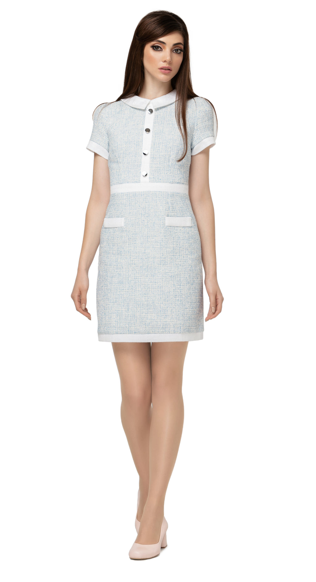 "60s Spring pale blue and white Spanish weave dress with classic collar, 4 silver button detailing on torso with contrasting waist, front essentials pockets and short sleeves.  Choose bespoke for sleeveless or 3/4"" sleeves or preferred dress length."